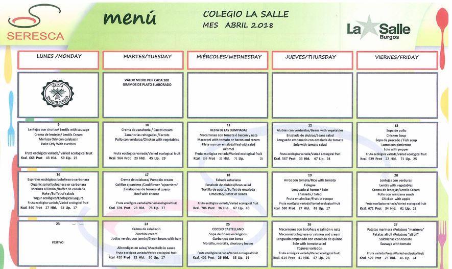 La Salle Burgos - menu comedor abril